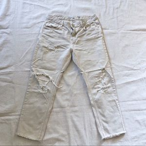 Zara Vintage Denim Clay Distressed cropped jeans